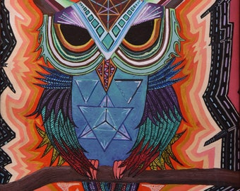 sacred, owl, acrylic, painting, original, 20'/16'