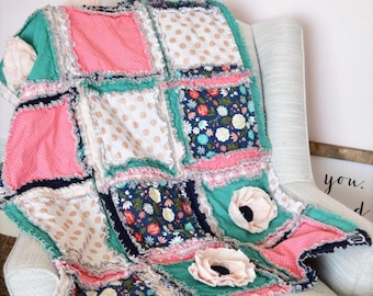 Boho Floral Baby Girl Rag Quilt in Navy, Mint, Gold, Coral - Available in Mini Crib Quilt, Crib Quilt, and Toddler Size Quilt