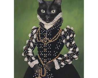 Black Cat Art Prints, Isabel, Black Cat Portrait, Cat Princess