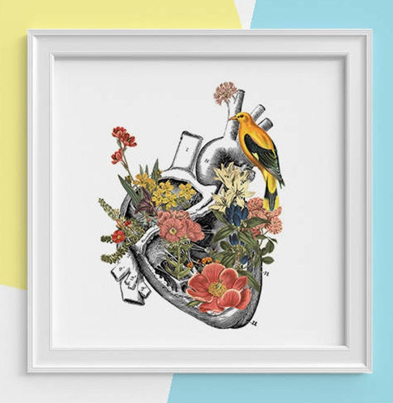 Human Heart with yellow bird Print, anatomy print Science student gift, Human heart art print, Anatomy with flowers SKA110SQ1