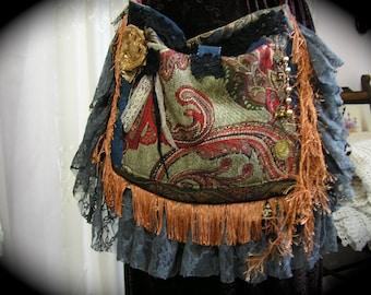 Bohemian Bag, gypsy purse, handmade fabric bag, velvet bag, chenille bag, tapestry bag, fringe embellished, lace embellished