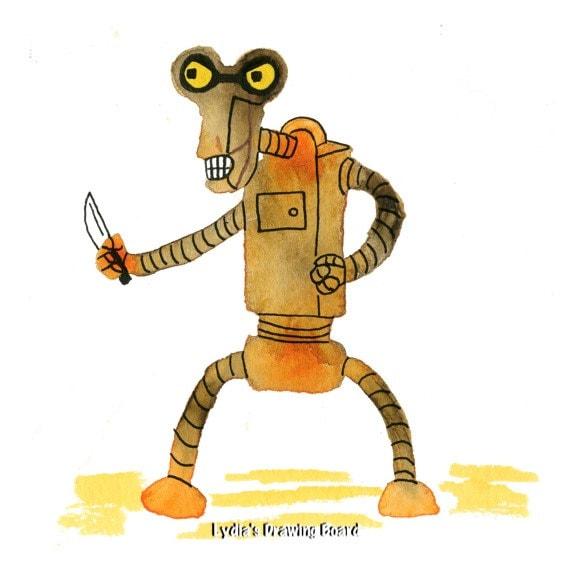 Futurama, Futurama Art, Futurama Print, Robot, Robot Art, Space Age, Space Art, Whimsical Art, Cartoon Art, Fan Art, Planet Express, Funny