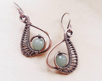 Wire wrap aventurine earrings, copper wire earrings handmade, copper wire jewelry green stone earrings copper, copper earrings aventurine