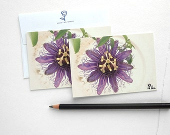 purple flower cards, botanical blank note card set, flower invitations, 5 small cards and envelopes