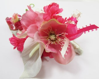 Pink and Ivory Boutonierre or Corsage with Calla Lilies and Azaleas - ready to ship