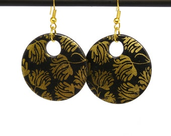 Black and Gold Flower Earrings, Round Drop Earrings, Gold Flower, Black Round Earrings, Disc Earrings, Floral Jewellery, Gift For Her