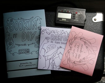 diy punk community organizing zine bundle! bookin it diy, respect at punk shows, safer spaces