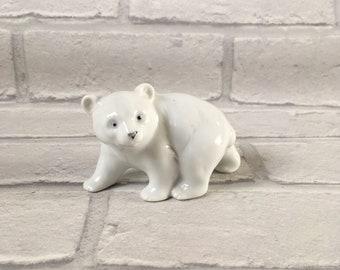 Delightful Vintage Ceramic Polar Bear Cub Figurine Ornament