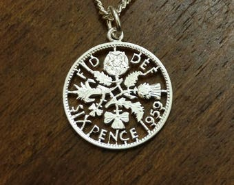 1959 Sixpence - Cut Out Coin Necklace