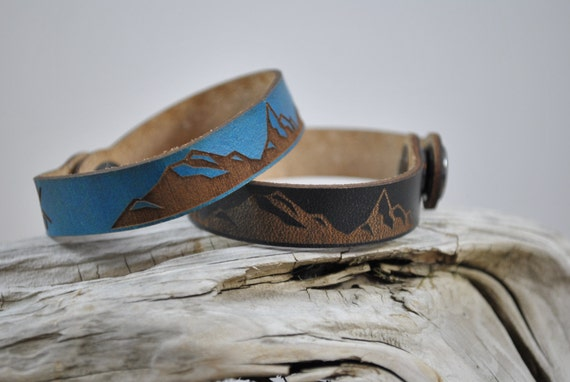 MOUNTAIN Leather Cuff, Thin, Leather cuff, leather bracelet, unisex leather cuff, men's, women's, kids, graduation gift