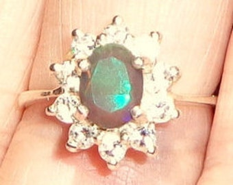 Size 7.5, Black Welo Opal, Sterling Silver Ring, White Sapphire Halo, Faceted, Color Play Opal, Red, Blue, Green, Yellow, OOAK