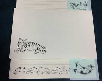 KAWAII cat stationery set from japan