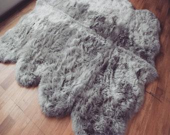 silver grey Octo sheepskin rug free uk shipping