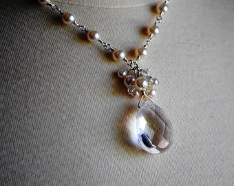 Pearl Bridal Necklace, Clear Quartz Faceted Teardrop Pendant Necklace, Swarovski Ivory Pearl and Crystal Cluster Wedding Necklace