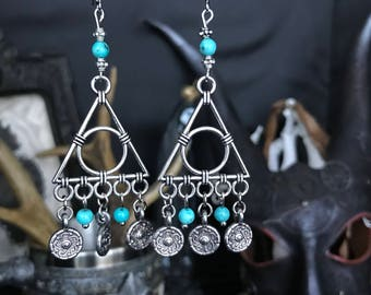 Earrings turquoise tribal - Indian - American - triangle - gypsy - symbolism - totem