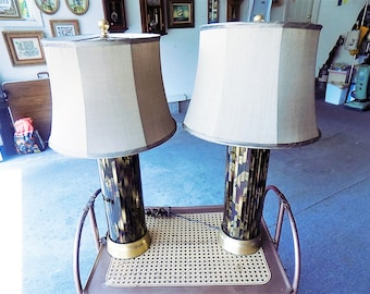 Ames era mid century pair of mosaic mirror table lamps with shades