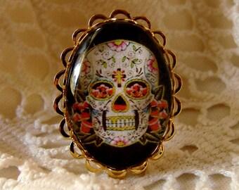 Sugar Skull Ring - Gold Plated Ring - Adjustable Ring - Dia de los Muertos - Day of the Dead Ring - Sugar Skull Jewelry - Skull Ring