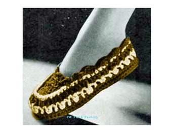 Women's Vintage Moccasin Slippers Crochet Pattern Instant Download