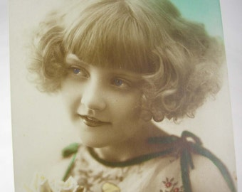 Haunted Blue Eyed Girl Real Photo RPPC Postcard Vintage Signed Leno 2197/5 Girl Next Door Used