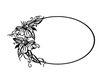 Oval frame with flowers and trees // FLONZ clear acrylic rubber stamps