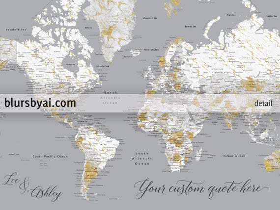 Personalized push pin world map gold grey marble world map personalized push pin world map gold grey marble world map canvas push pin large world map large push pin map marble map map191 002 gumiabroncs Images