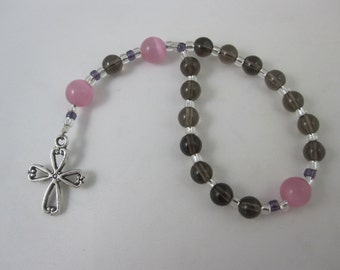Smoky Quartz and Rose Glass Chaplet