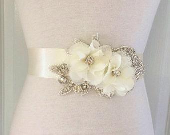 Ivory Bridal Sash-Bridal Flower Sash-Ivory Sash-Wedding Sash-Ivory Bridal Belt-Ivory Flower Sash-Rhinestone Ivory Chiffon Flowers Sash