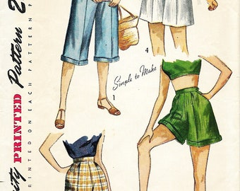 1949 Simplicity 2853 Junior Miss And Misses Pedal Pushers Sewing Pattern, Waist 26
