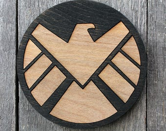 Agents of S.H.I.E.L.D.  Wood Coaster   Rustic/Vintage   Hand Stained and Glued   Comic Book Gift