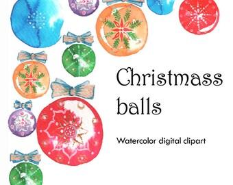 Christmass balls, New Year, Christmas, Christmass decor, Watercolor Christmass balls
