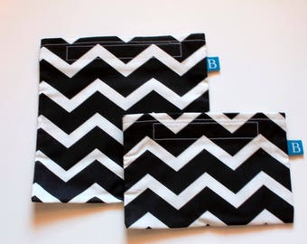 Reuseable Eco-Friendly Set of Snack and Sandwich Bags in Black and White Chevron Fabric