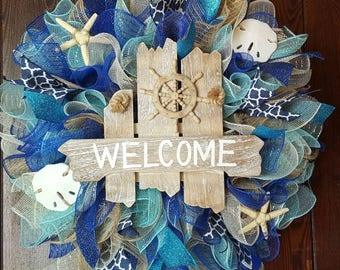 Beach Wreath, Summer Wreath, Welcome Wreath, Nautical Wreath, Seashells, Welcome Wreath, Welcome Ship Wheel Wreath, Blue Wreath, Ocean, Ship