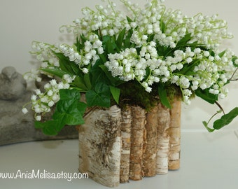 Wedding baskets boxes etsy natural birch bark wood vases wedding flower pot bridal shower centerpieces baskets woodwork rustic chic wedding lily of the valley junglespirit Choice Image