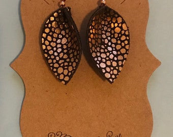New style** brown/rose gold speckled, leaf style leather earrings