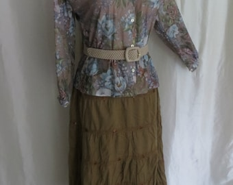 Vintage 70s womens blouse, floral, mocha pink blue, lightweight long sleeve button down, mandarin collar