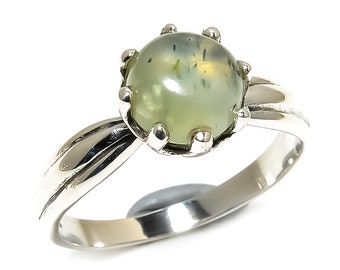 Natural Prehnite Round Gemstone Ring 925 Sterling Silver R1177