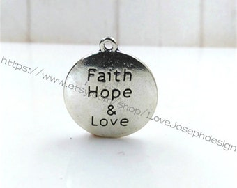 wholesale 100 Pieces /Lot Antique Silver Plated 25mm Faith Hope & Love Charms