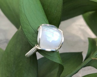 Rainbow Moonstone Ring / Wire Wrapped Ring / Sterling Silver