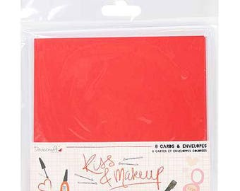 Red and Pink Square Card Blanks - Lip Shapes - Kiss & Make Up by Dovecraft - Lipstick Red - Hot Pink - Blank Cards