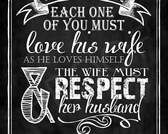 Scripture Art - Ephesians 5:33 Chalkboard Print