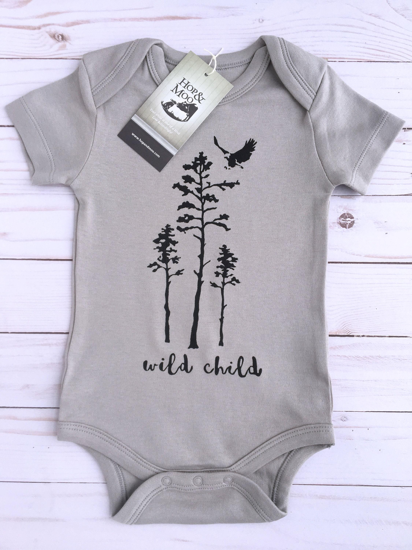 Wild Child Grey Shirt Unisex Organic Handprinted Baby Bodysuit