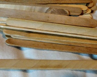 Popsicle Sticks, 100 Wood, 4.5 inches X one half inch, craft supply, assemblage