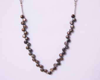 Black Pearl and Sterling Silver Necklace
