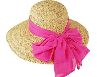 Personalized Natural Raffia with Pink Bow Sun Hat