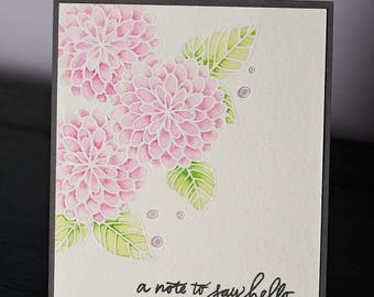 Hand Stamped, Embossed and Colored Hello Dahlia Card, Watercolor, Pink, Friendship Card