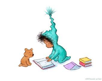 All Of Our Favorite Books - Toddler Girl Reading - Art Print - Nursery