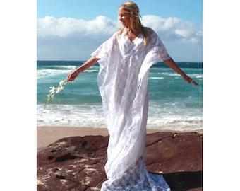 Gypsy Lace Beaded Train Bridal Kaftan, Vintage Lace Beach Wedding Dress