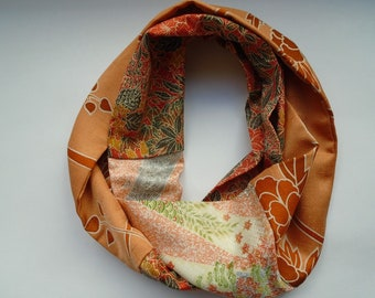 Floral Orange and Red Japanese Silk Infinity Scarf - Vintage Japanese Silk Kimono Fabric