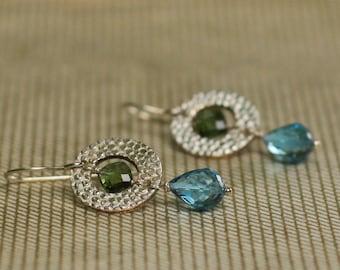 Blue Topaz Olive Tourmaline Fine Silver Earrings