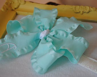 Baby Headband Bows 5 Inch Baby Hair Bands Aqua Baby Bow Personalized Hair Bow for Frozen Birthday Outfit Personalized Baby Gifts for Girl